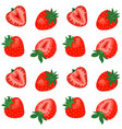 seamless pattern with cute strawberries on white vector image vector image