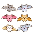 Set of kawaii bats with different facial vector image vector image