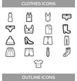 simple set of clothes and shopping outline vector image vector image