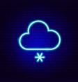 snowy cloud neon sign vector image vector image