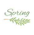 spring and branch with tiny oblong leaves poster