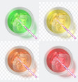top view cocktails glass with fresh juice and vector image vector image