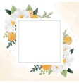 watercolor white flower and orange fruit wreath vector image