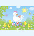 white hen with chicks and easter eggs vector image vector image