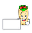 with board burrito character cartoon style vector image vector image