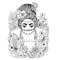 zentangl Oriental Princess in vector image