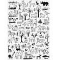 animals doodles set vector image