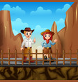 a cowboy and a cowgirl at desert vector image vector image