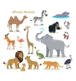 African Fauna Species Cute Animals Flat vector image vector image
