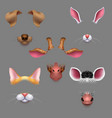 animal ears and noses selfie photo filters vector image vector image