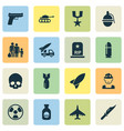 army icons set collection of fugitive rip vector image vector image