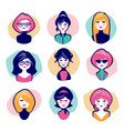 avatars young women cartoon retro style vector image