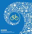 Bicycle bike sign icon Nice set of beautiful vector image