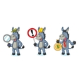 Blue Donkey Mascot with sign vector image vector image