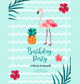 bright birthday invitation in hawaiian style with vector image