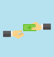 Businessman gives money to another businessman vector image vector image