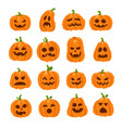 cartoon halloween pumpkin orange pumpkins with vector image vector image