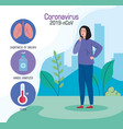 coronavirus 2019 ncov infographic with woman sick vector image vector image