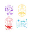creative sketch style emblems for circus vector image vector image