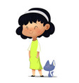 cute little girl in spring vector image