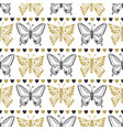 cute seamless pattern of butterflies black and vector image