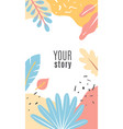 design floral cover stories blue and orange vector image