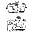 doodle cameras digital analogue vector image vector image