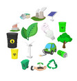 ecology cartoon icons set vector image
