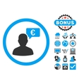 European Person Opinion Flat Icon with vector image