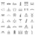 famous place icons set outline style vector image vector image