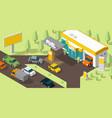 filling station banner refilling fuel road shop vector image vector image