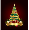 golden decorative christmas tree with banner vector image vector image