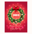 greeting card with a beautiful christmas wreath vector image vector image