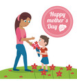 happy mothers day card - mom with son bouquet vector image vector image