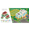 isometric city colorful concept vector image vector image