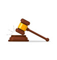 judge wood hammer auction judgment wooden judge vector image