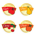 label of fruit natural product set in colorful vector image vector image