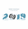 new year 2019 with cars wheel on white vector image
