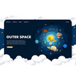 outer space website landing page design vector image vector image