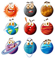 Planets with faces on white vector image vector image