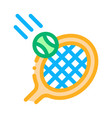 racket hits ball icon outline vector image vector image