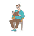reading man sitting in vector image