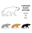saber-toothed tiger icon in cartoon style isolated vector image