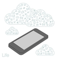 Screen mobile phone with flat icons on the vector image