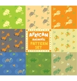 Seamless pattern set with funny african animals vector image vector image