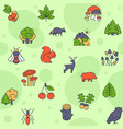 seamless pattern with color linear icon of vector image