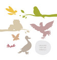 silhouettes of birds and flying insects isolated vector image