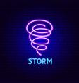 storm neon label vector image