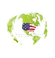 united satates america on green map state in vector image vector image