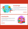 unpacking gfts postcards and snowball fight xmas vector image vector image